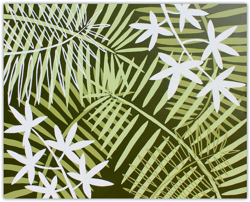 (CreativeWork) Palm and Fern Leaves - Tropical by Miranda Lloyd. arcylic-painting. Shop online at Bluethumb.