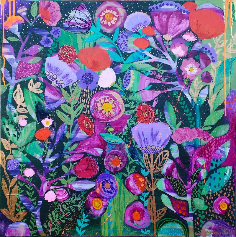 (CreativeWork) Midnight Garden by Sandra Oost. mixed-media. Shop online at Bluethumb.