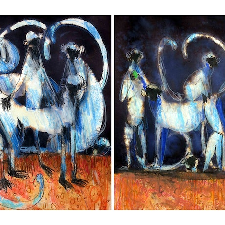 (CreativeWork) Langur Monkey diptych - set of 2 works  by John Graham. Mixed Media. Shop online at Bluethumb.