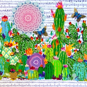 (CreativeWork) Cacti joy by Cathy Snow. Mixed Media. Shop online at Bluethumb.