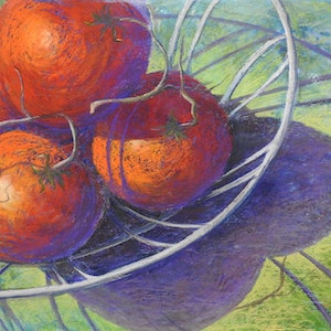(CreativeWork) Tomatoes in a wire basket. Still life by Lindy Whitton. #<Filter:0x00007fe849481500>. Shop online at Bluethumb.