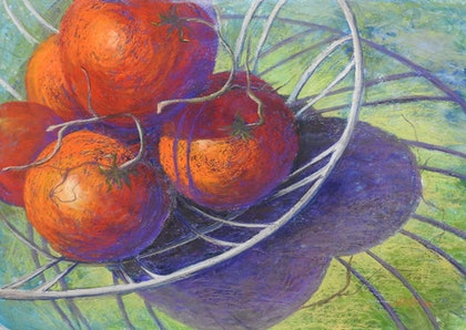 (CreativeWork) Tomatoes in a wire basket. Still life by Lindy Whitton. mixed-media. Shop online at Bluethumb.