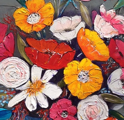 (CreativeWork) Flower power by Ron Brown. Mixed Media. Shop online at Bluethumb.