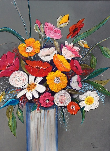 (CreativeWork) Flower power by Ron Brown. mixed-media. Shop online at Bluethumb.