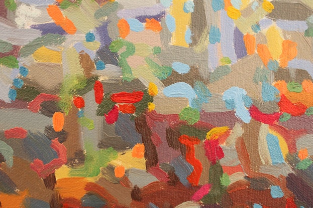 (CreativeWork) Colourful Day by Ann Menezies. Oil Paint. Shop online at Bluethumb.
