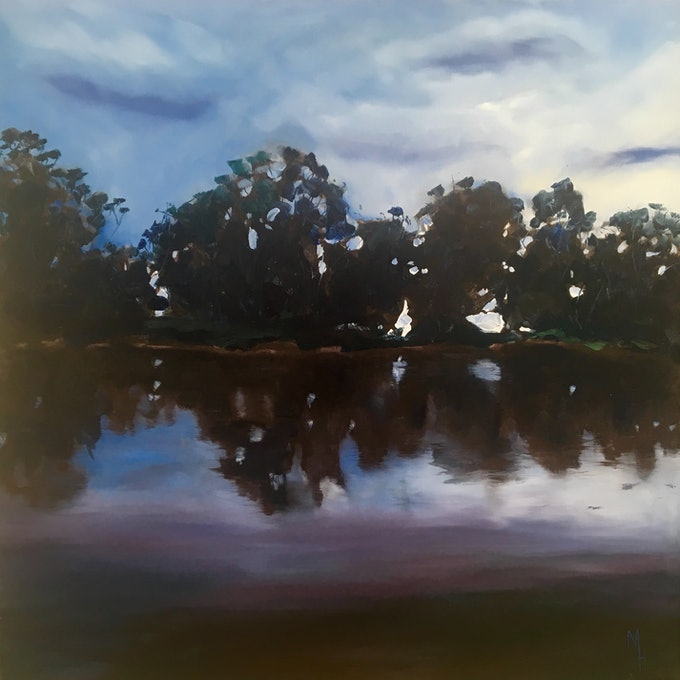 (CreativeWork) Macintyre River, NSW by Meredith Howse. oil-painting. Shop online at Bluethumb.