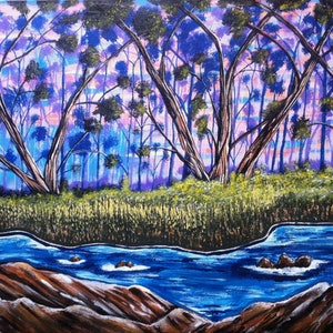 (CreativeWork) Mystery Forest by Janine H. arcylic-painting. Shop online at Bluethumb.