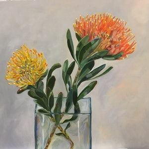 (CreativeWork) In harmony (Pincushion Protea) by Jackie Moss. oil-painting. Shop online at Bluethumb.