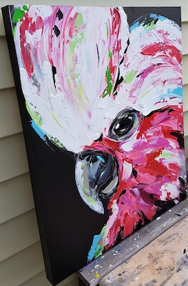 (CreativeWork) Galah - Green & Blue by Lisa Fahey. Acrylic Paint. Shop online at Bluethumb.
