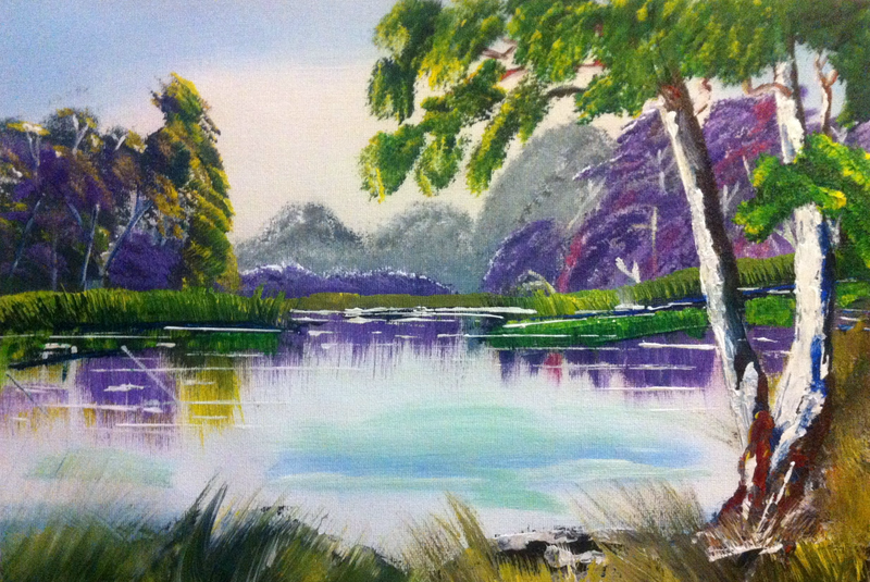 (CreativeWork) Lavender Lake by Janine H. arcylic-painting. Shop online at Bluethumb.
