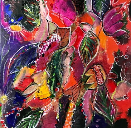 (CreativeWork) BOTANICAL JOYS #1 by LOUISE GROVE WIECHERS. arcylic-painting. Shop online at Bluethumb.