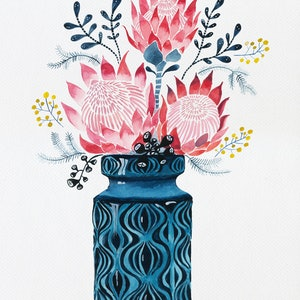 (CreativeWork) Pink Proteas in West German Onion Vase Ed. 8 of 25 by Sally Browne. print. Shop online at Bluethumb.