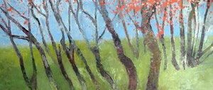 (CreativeWork) Cherry blossom landscape  by John Graham. oil-painting. Shop online at Bluethumb.