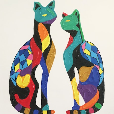 (CreativeWork) Quirky Cats by Linda Browne. Acrylic Paint. Shop online at Bluethumb.