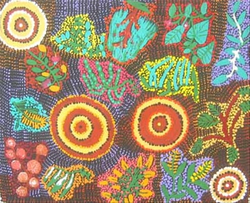 (CreativeWork) All different types of bush tucker Catalog no. ngur06jwh3114 by Joanne Wheeler. Acrylic Paint. Shop online at Bluethumb.