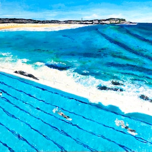 (CreativeWork) Bondi Ice-bergs  by Gillian Fahey. mixed-media. Shop online at Bluethumb.