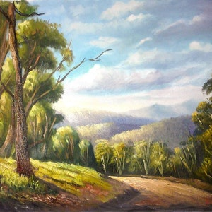 (CreativeWork) Along the Alpine Road -  oil on Loose Canvas by Christopher Vidal. oil-painting. Shop online at Bluethumb.