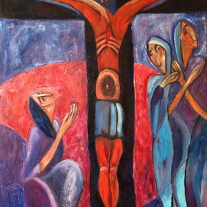 (CreativeWork) Crucifixion  by Olga Bakhtina. Oil Paint. Shop online at Bluethumb.