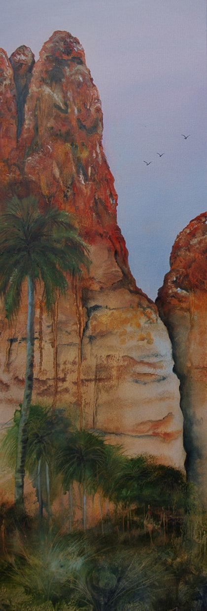 (CreativeWork) Echinda Gorge by Suzy French. oil-painting. Shop online at Bluethumb.
