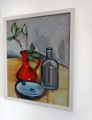 (CreativeWork) Red vase form Venice and more by Liza Merkalova. Oil Paint. Shop online at Bluethumb.