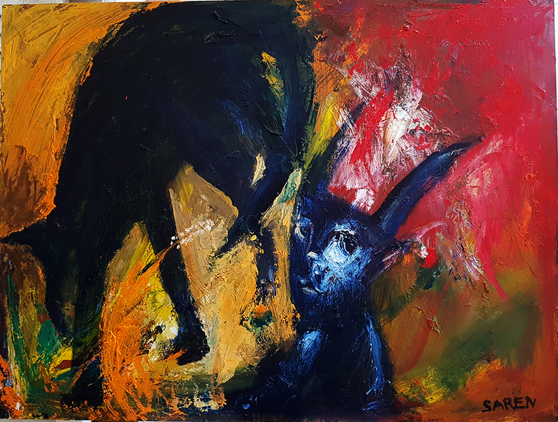 (CreativeWork) Dog and Rabbit in the Grass by Saren Dobkins. oil-painting. Shop online at Bluethumb.