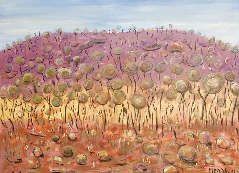 (CreativeWork) Approaching the Pilbara by Meg Vivers. mixed-media. Shop online at Bluethumb.
