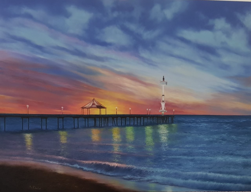 (CreativeWork) Brighton Beach Sunset  - Original Australian Landscape Oil - Copy by Babak Edalat. oil-painting. Shop online at Bluethumb.