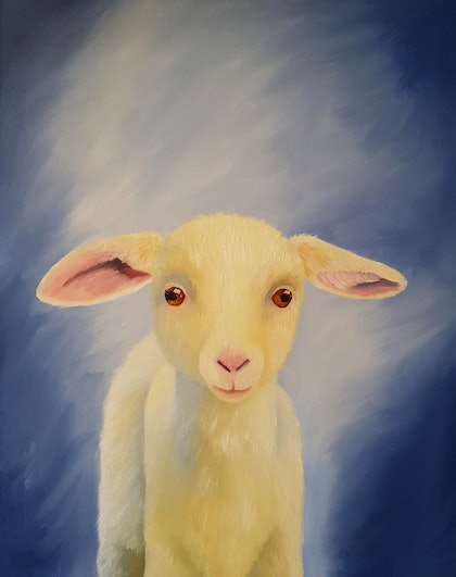 (CreativeWork) Sweet Lamb by Skye Cardwell. oil-painting. Shop online at Bluethumb.