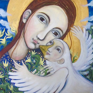 (CreativeWork) girl and bird (icon style) by alexa e franka. oil-painting. Shop online at Bluethumb.