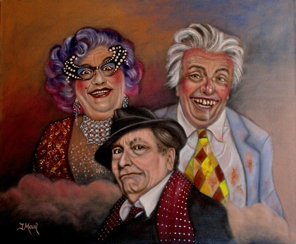 (CreativeWork) Barry x 3 by Joseph Maul. oil-painting. Shop online at Bluethumb.