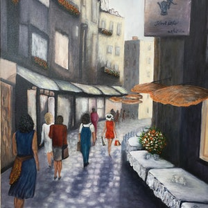 (CreativeWork) Alley shopping   Vicolo dello shopping by Carlo Valentini. mixed-media. Shop online at Bluethumb.