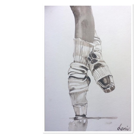 (CreativeWork) The Pointe by Lani Kay. Watercolour Paint. Shop online at Bluethumb.