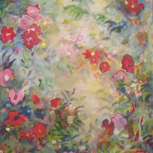 "(CreativeWork) ""I Didn't Promise you a Rose Garden"" by Noeline Machan. arcylic-painting. Shop online at Bluethumb."