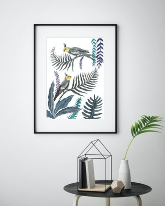 (CreativeWork) Cockatiel Forest by Sally Browne. Other Media. Shop online at Bluethumb.