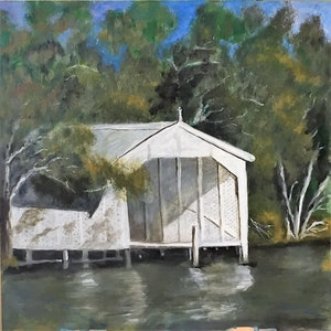 (CreativeWork) Boat house on the Murray by Sandy Barbara. arcylic-painting. Shop online at Bluethumb.