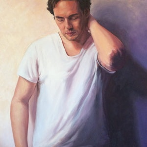(CreativeWork) Contemplation by Robin Hicks. oil-painting. Shop online at Bluethumb.
