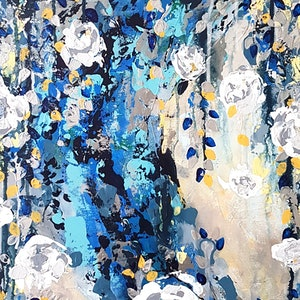 (CreativeWork) Moon Blossom - SALE ( was $580) by Emily Lauro. arcylic-painting. Shop online at Bluethumb.