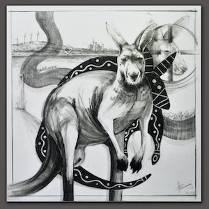 (CreativeWork) Drawing of Kangaroo Series || Marriage of Time 1 by Michael Chorney. drawing. Shop online at Bluethumb.