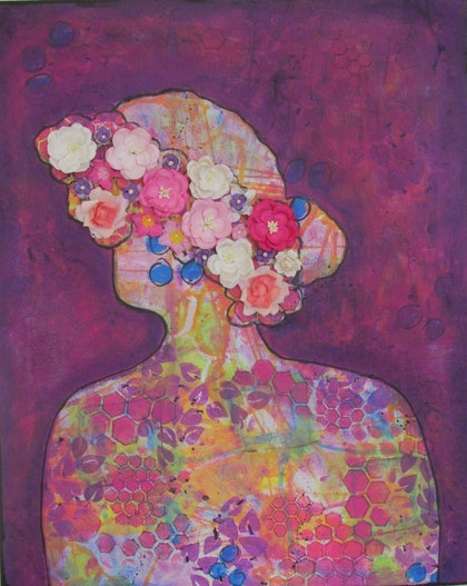 (CreativeWork) Crown of flowers by Sandra Carey. mixed-media. Shop online at Bluethumb.