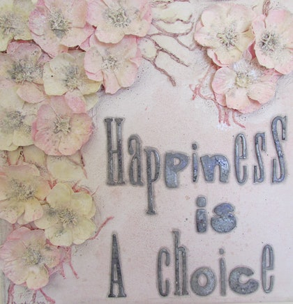 (CreativeWork) Happiness is a choice by Sandra Carey. mixed-media. Shop online at Bluethumb.