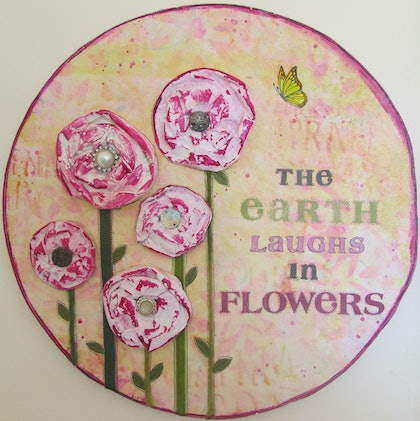 (CreativeWork) The Earth laughs in flowers by Sandra Carey. mixed-media. Shop online at Bluethumb.