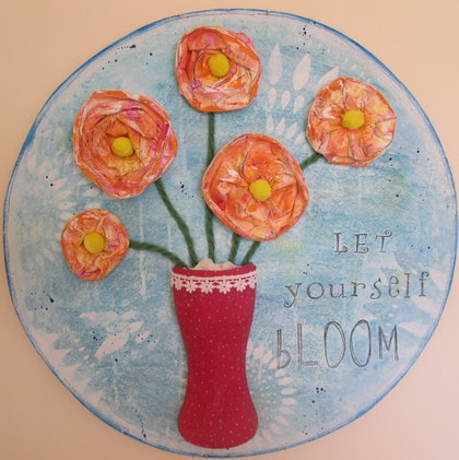 (CreativeWork) Let yourself bloom by Sandra Carey. mixed-media. Shop online at Bluethumb.