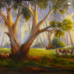 (CreativeWork) Original oil painting - Grazing in the Australian bush by Christopher Vidal. oil-painting. Shop online at Bluethumb.