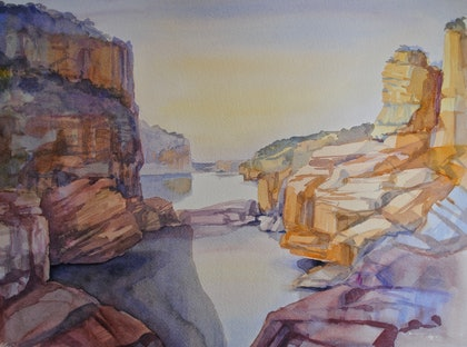 (CreativeWork) Katherine Gorge 3 by Carol Croad. watercolour. Shop online at Bluethumb.