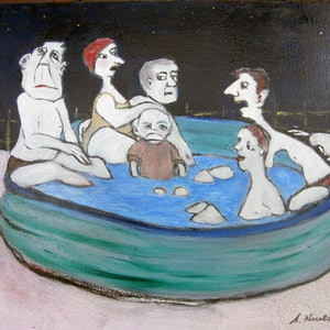 (CreativeWork) Backyard Cool Off by Sandra Nicolaides. oil-painting. Shop online at Bluethumb.