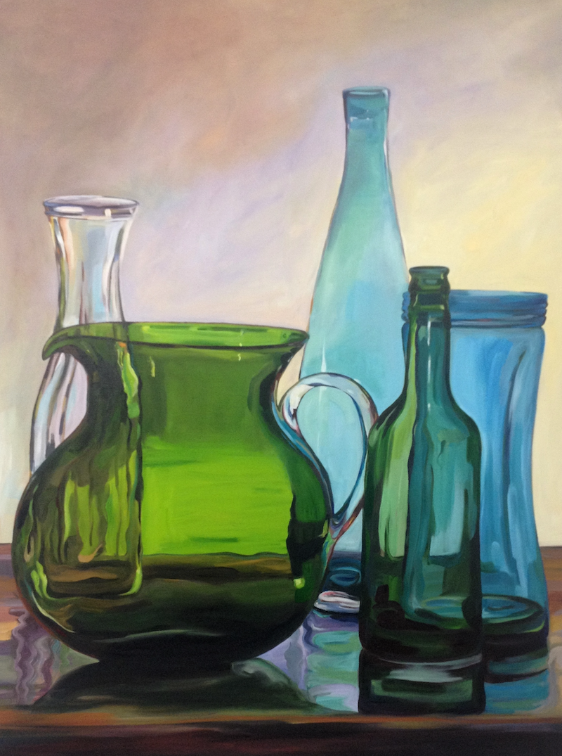 (CreativeWork) Large Green Jug (2015) by Jackie Moss. oil-painting. Shop online at Bluethumb.