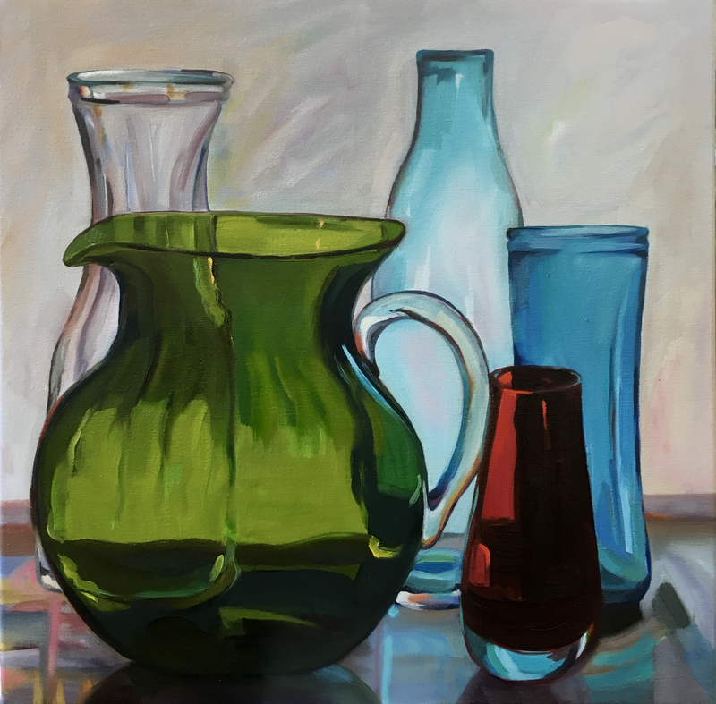 (CreativeWork) Green Jug with red vase by Jackie Moss. oil-painting. Shop online at Bluethumb.