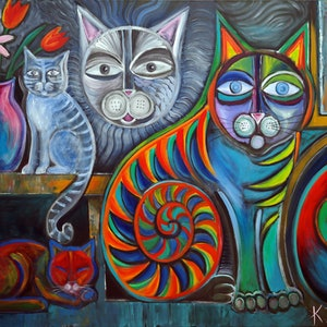 (CreativeWork) Neon Cats by Karin Zeller. arcylic-painting. Shop online at Bluethumb.
