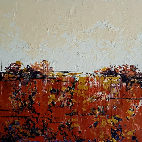 (CreativeWork) Gold Country by Helen Miles. Acrylic Paint. Shop online at Bluethumb.