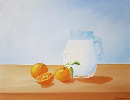 (CreativeWork) Morning Breakfast by Skye Cardwell. oil-painting. Shop online at Bluethumb.